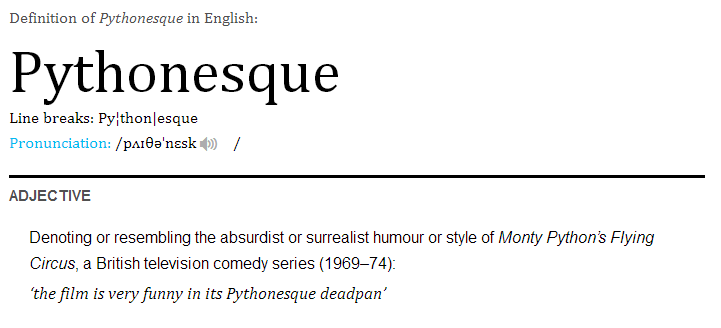 Pythonesque definition